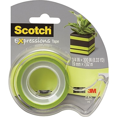 Scotch Expressions Tape, Green, Removable, 3/4in. x 300in. with Dispenser