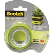 "Scotch® Expressions Tape, Green, Removable, 3/4"" x 300"" with Dispenser"