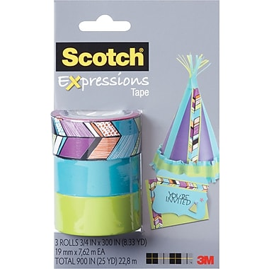 Scotch® Expressions Tape, Tribal, Blue, Green, Removable, 3/4in. x 300in., 3/Pack
