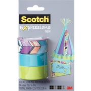 "Scotch® Expressions Tape, Tribal, Blue, Green, Removable, 3/4"" x 300"", 3/Pack"