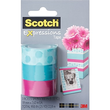 Scotch® Expressions Tape, Circle, Blue, Pink, Removable, 3/4in. x 300in., 3/Pack
