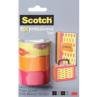 Scotch® Expressions Tape, Sherbet, Orange, Salmon, Removable, 3/4in. x 300in., 3/Pack