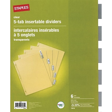 Staples® Insertable Clear 5 Tab Dividers