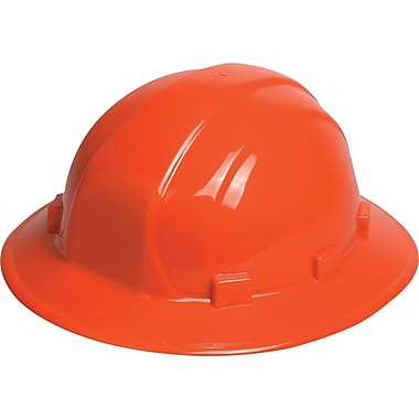 Omega II® Hard Hat, Full Brim, CSA Type 1, Mega Ratchet Adjustment, Class E Certified, ANSI Type I, Hi-Viz Orange