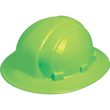 Omega II® Hard Hat, Full Brim, CSA Type 1, Mega Ratchet Adjustment, Class E Certified, ANSI Type I, Hi-Viz Lime Green