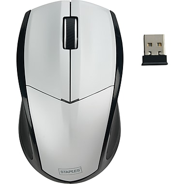 Staples® Wireless Optical Mouse, Silver
