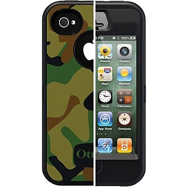 OtterBox® Defender Series Old School Jungle Military Camo Hybrid Case For iPhone 4/4S, Black