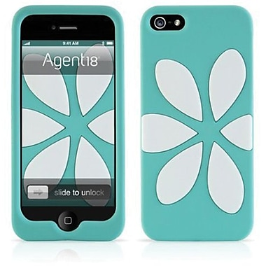 Agent18® FlowerVest Silicone Case For iPhone 5, Turquoise/White