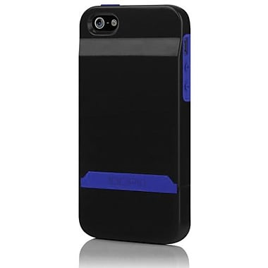 Incipio® Stashback Dockable Credit Card Case For iPhone 5, Obsidian Black/Ultraviolet Blue