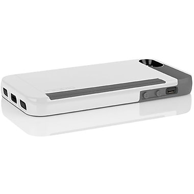 Incipio® Stowaway Credit Card Case For iPhone 5, Optical White/Charcoal Gray