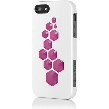 Incipio® CODE Triple Protection Hybrid Case For iPhone 5, Optical White/Charcoal Gray/Cherry Pink