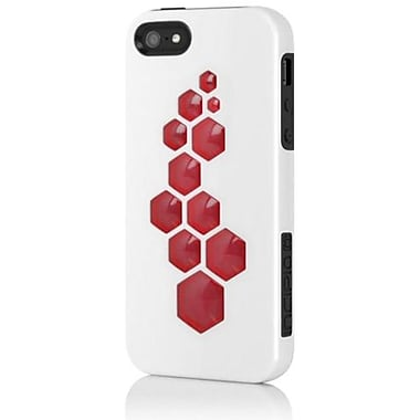 Incipio® CODE Triple Protection Hybrid Case For iPhone 5, Obsidian Black/Optical White/Scarlet Red