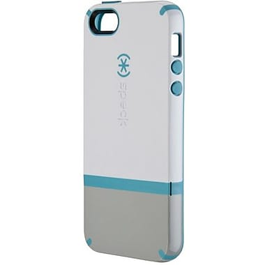 Speck® CandyShell Flip Rubberized Hard Case For iPhone 5, White/Pebble Gray/Peacock