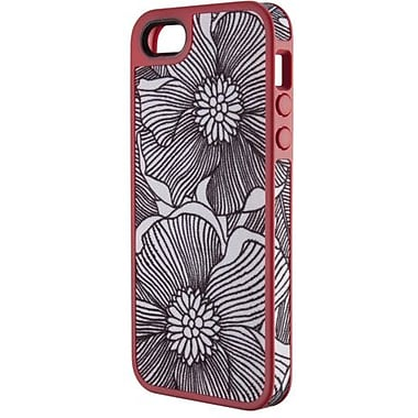 Speck® FabShell Hard Case W/Fabric For iPhone 5, FreshBloom Coral Pink/Black