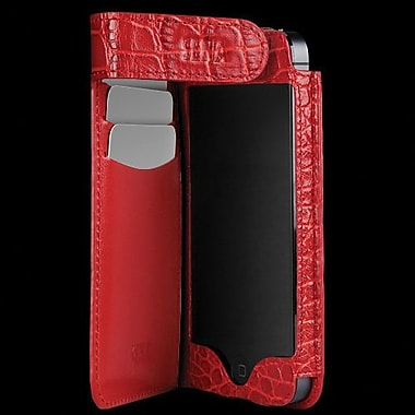 Sena Hampton Wallet Leather Case For iPhone 5, Croco Red