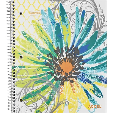 Staples® Fashion Accel Durable Poly Cover Notebook, Flower, 8-1/2
