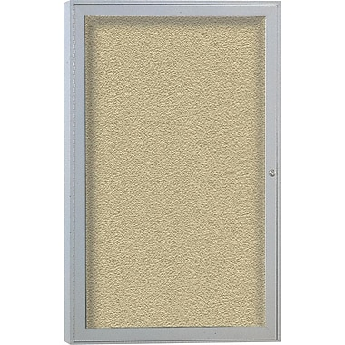 Ghent® Enclosed Vinyl Bulletin Board, 1 Door, Aluminum Frame, 24