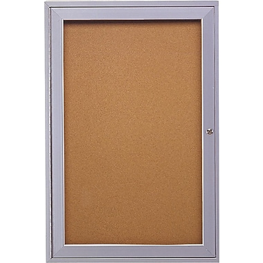 Ghent® Enclosed Cork Bulletin Board, 1 Door, Indoor Use, Aluminum Frame, 24