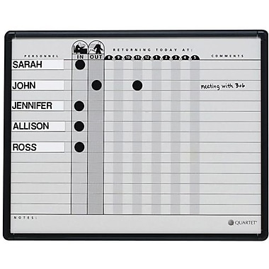 "Quartet® In/Out Porcelain Magnetic Personnel Board, 15 Names, 24"" x 18"""
