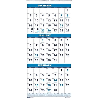 2014 House of Doolittle® 3 Month Wall Calendar, 12 1/4in. x 26in.