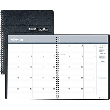 2014 House of Doolittle® 14 Month Planner, Black Embossed Leatherette Cover, 8 1/2in. x 11in..