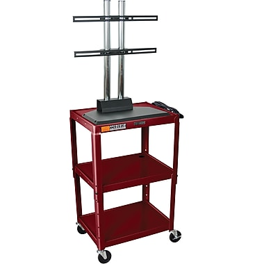 Luxor® Steel Adjustable Height Flat Panel AV Cart W/LCD Mount, Burgundy