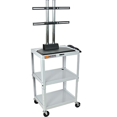 Luxor® Steel Adjustable Height Flat Panel AV Cart W/LCD Mount, Light Gray