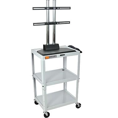 Luxor® Steel Adjustable Height Flat Panel AV Cart W/LCD Mount, Light Gray