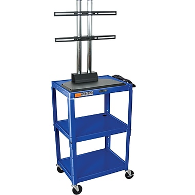 Luxor® Steel Adjustable Height Flat Panel AV Cart W/LCD Mount, Royal Blue