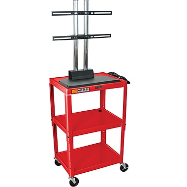 Luxor® Steel Adjustable Height Flat Panel AV Cart W/LCD Mount, Red