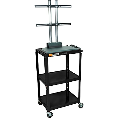 Luxor® Steel Adjustable Height Flat Panel AV Cart W/LCD Mount, Black
