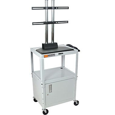 Luxor® Steel Adjustable Height Flat Panel AV Cart W/LCD Mount & Cabinet, Light Gray