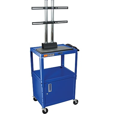 Luxor® Steel Adjustable Height Flat Panel AV Cart W/LCD Mount & Cabinet, Royal Blue