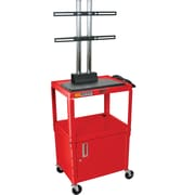 Luxor® Steel Adjustable Height Flat Panel AV Cart W/LCD Mount & Cabinet, Red