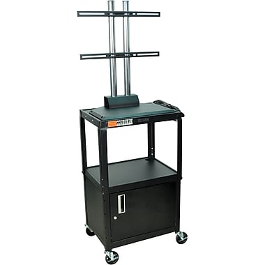 Luxor® Steel Adjustable Height Flat Panel AV Cart W/LCD Mount & Cabinet, Black