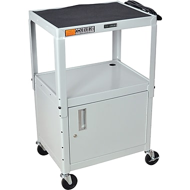 Luxor® Steel Adjustable Height AV Carts W/Cabinet