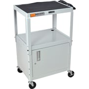 Luxor® Steel Adjustable Height AV Cart W/Cabinet, Light Gray