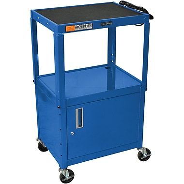 Luxor® Steel Adjustable Height AV Cart W/Cabinet, Royal Blue