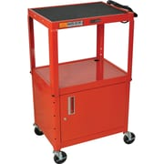 Luxor® Steel Adjustable Height AV Cart W/Cabinet, Red