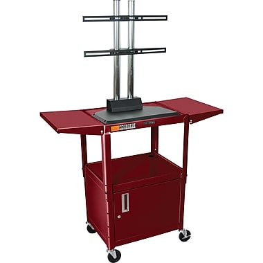 Luxor® Steel Adjustable Height Flat Panel AV Cart W/LCD Mount, Cabinet & Drop Leaf, Burgundy