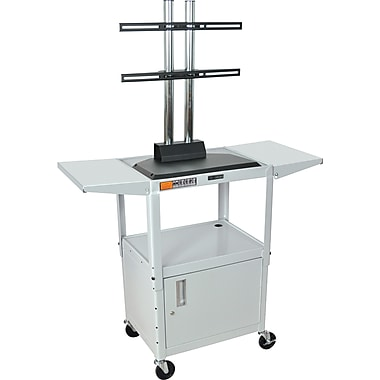 Luxor® Steel Adjustable Height Flat Panel AV Cart W/LCD Mount, Cabinet & Drop Leaf, Light Gray