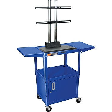 Luxor® Steel Adjustable Height Flat Panel AV Cart W/LCD Mount, Cabinet & Drop Leaf, Royal Blue