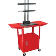 Luxor® Steel Adjustable Height Flat Panel AV Cart W/LCD Mount, Cabinet & Drop Leaf, Red