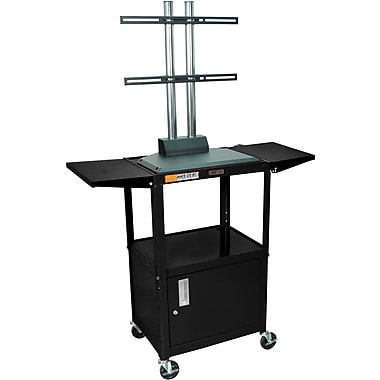 Luxor® Steel Adjustable Height Flat Panel AV Cart W/LCD Mount, Cabinet & Drop Leaf, Black