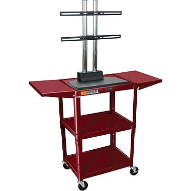Luxor® Steel Adjustable Height Flat Panel AV Cart W/LCD Mount & Drop Leaf, Burgundy