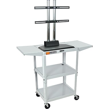 Luxor® Steel Adjustable Height Flat Panel AV Cart W/LCD Mount & Drop Leaf, Light Gray
