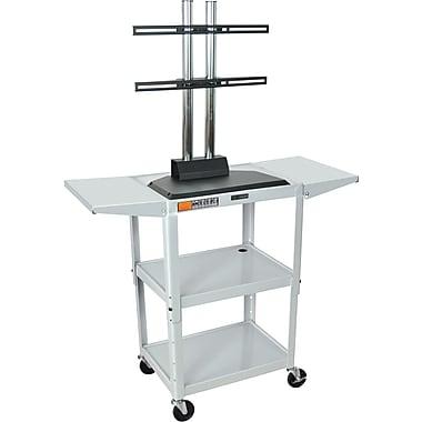 Luxor® Steel Adjustable Height Flat Panel AV Cart W/LCD Mount & Drop Leaf, Light Gray