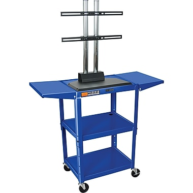 Luxor® Steel Adjustable Height Flat Panel AV Cart W/LCD Mount & Drop Leaf, Royal Blue