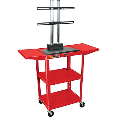 Luxor® Steel Adjustable Height Flat Panel AV Cart W/LCD Mount & Drop Leaf, Red