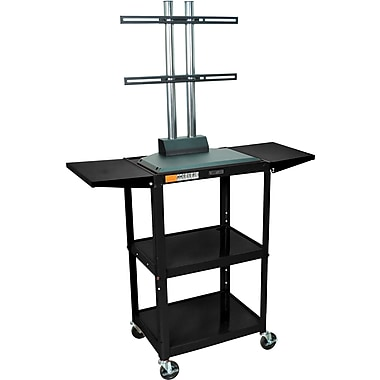 Luxor® Steel Adjustable Height Flat Panel AV Cart W/LCD Mount & Drop Leaf, Black